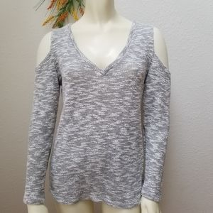 LNA Cold Shoulder V neck Sweater Small Made in USA